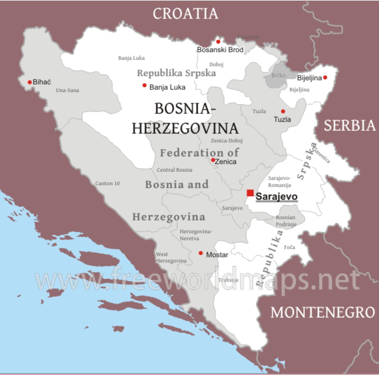 Map of Bosnia Herzegovina